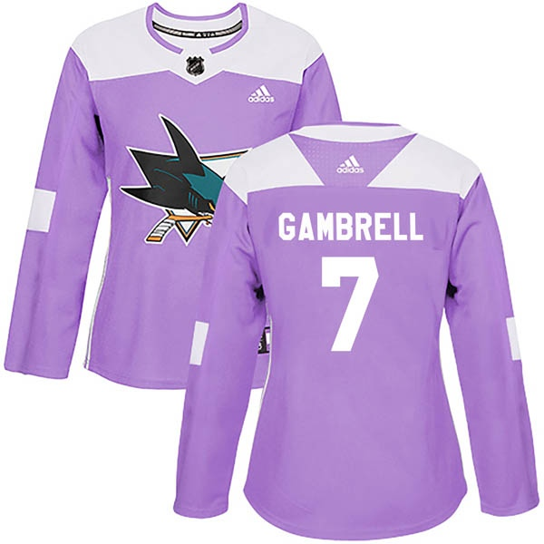 quality design 86b53 8a7a7 Women's Dylan Gambrell San Jose Sharks Adidas Hockey Fights Cancer Jersey -  Authentic Purple - Sharks Shop